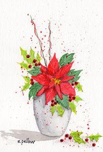 Poinsettia in white vase