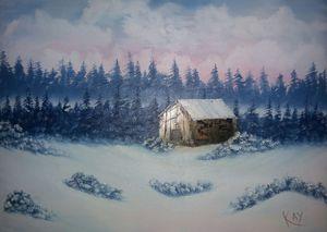 Wooden cabin in winter
