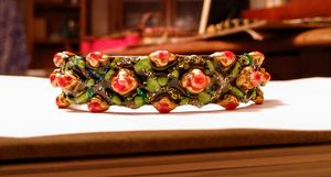 Roses and Leaves painted bracelet - indianArtOnCanvas
