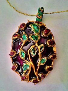 oval painted Indian glass pendant - indianArtOnCanvas