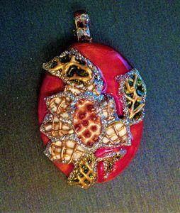 pink painted Indian pendant - indianArtOnCanvas
