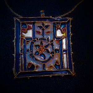 blue painted Indian motif pendant