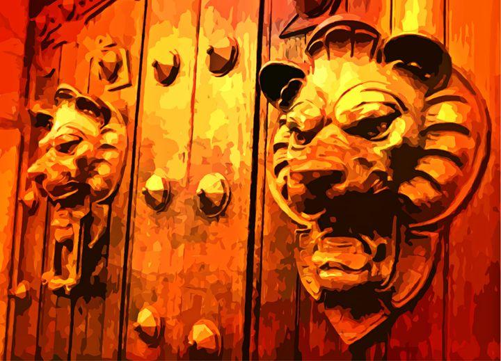 Lion Heads on European Door - Funky Fine Art