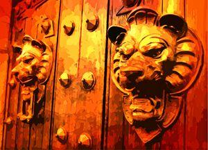 Lion Heads on European Door