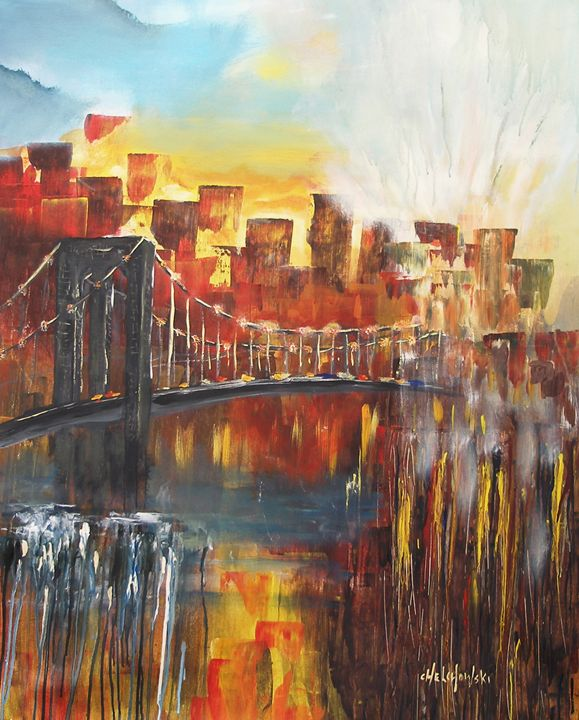 Brooklyn bridge New York - art paintings by miroslaw chelchowski