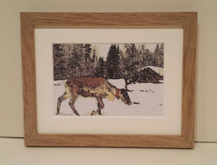 Reindeer In Red Collar - artbyhew