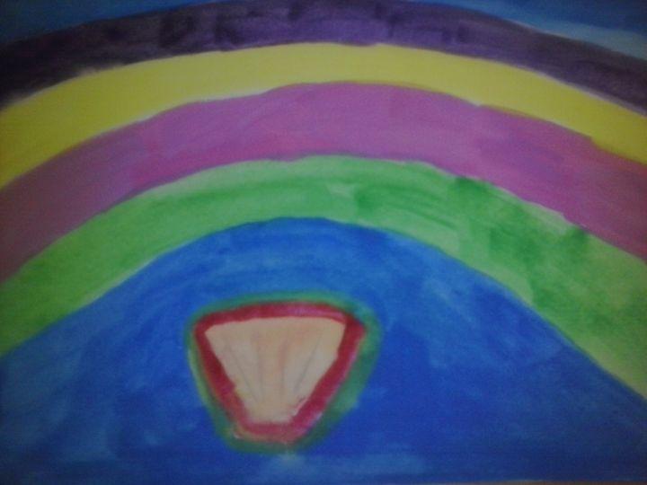 bright rainbow over seashell - Erica's Art