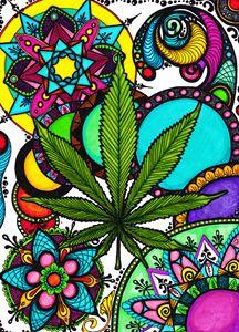 Marijuana Mandala Color