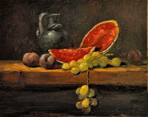 Watermelon, plums, & grapes