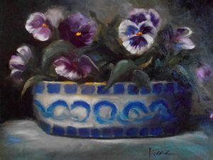 Pansies in Antique Bowl