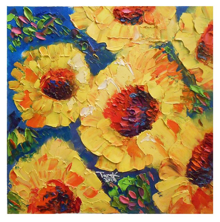 Sunflowers Abstract set-02 - Tarek El Adley Art