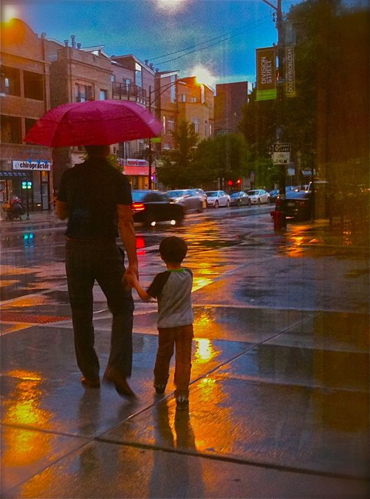FATHER AND SON IN CITY RAIN AT DUSK - Tirzah Fujii
