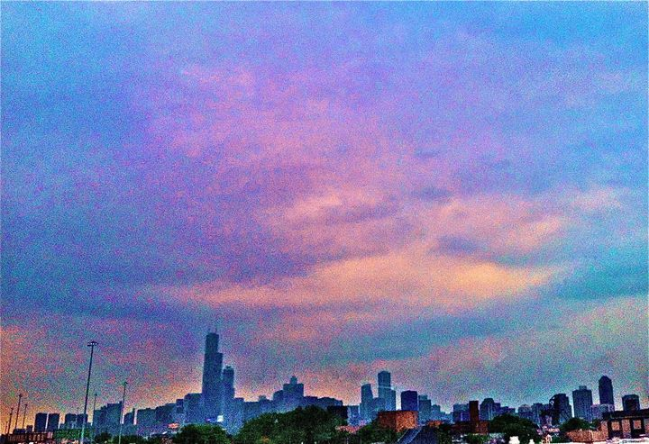 COLORFUL CLOUDS OVER CHICAGO SKYLINE - Tirzah Fujii