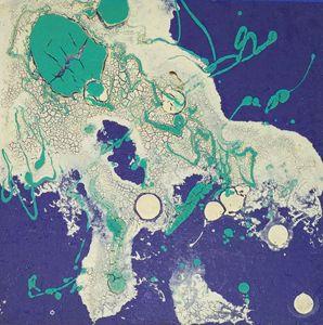Nebula painted with crackle-glazes #