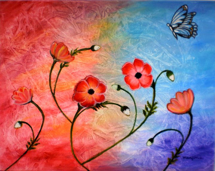Vibrant Poppies - artbymanjiri