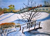 Landscape painting of a snow scene