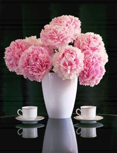 Still life with peonies and cups