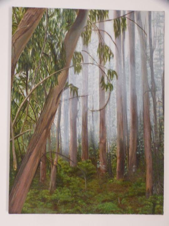 Trees in fog - Handan`s paintings