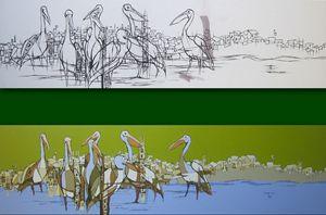 flamingos Painting of Muluken Debebe