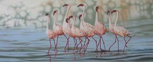Lake Birds paintig by Muluken debebe