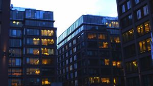 Lighted Office Buildings