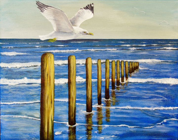 Seagull and Post - Art by JAMES B TAYLOR