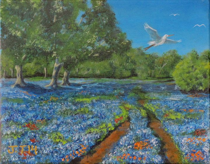 Spring in Texas with bird - Art by JAMES B TAYLOR