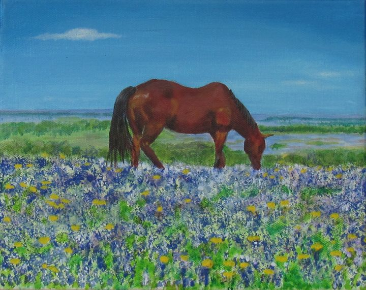 Spring in Texas with horse - Art by JAMES B TAYLOR