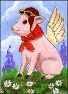 ACEO Flying Porker II