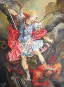 Archangel Michael trampling Satan
