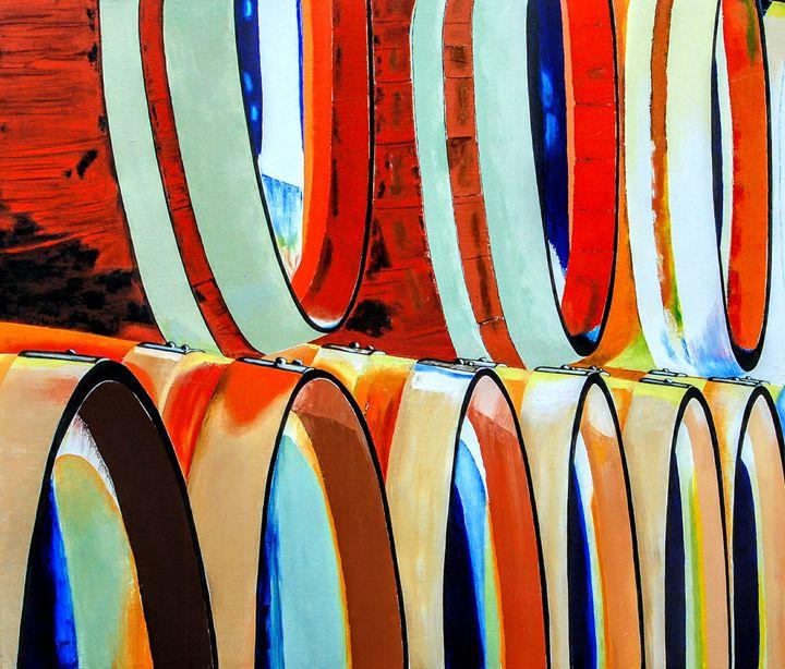 Psychedelic Barrels of Spirits - Sandra Stojack Fine Art