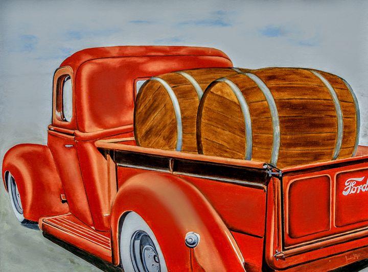 Ford truck & barrels of Spirits - Sandra Stojack Fine Art