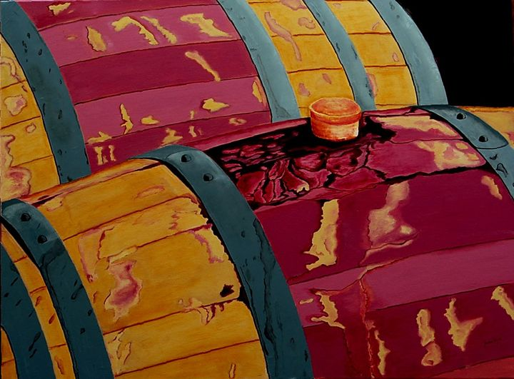 Vintage Red Wine Barrels - Sandra Stojack Fine Art