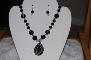 crystal necklace with ear ring