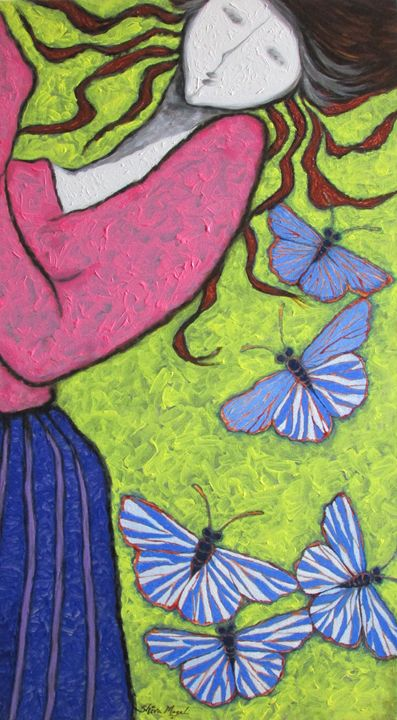 A GIRL AND BUTTERFLIES I - SHIVAYOGI MOGALI