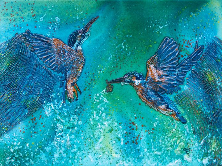 Kingfishers Making A Splash - Wendy's Art