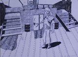 15x20 Robot Pirate Original Pen