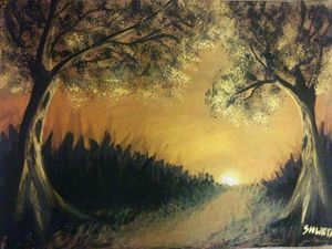 Shadow painting scenary