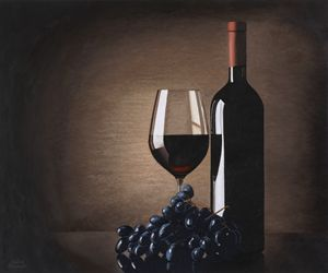 wine bottle , glass, purple grapes