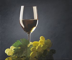 white wine glass, leaf, green grape