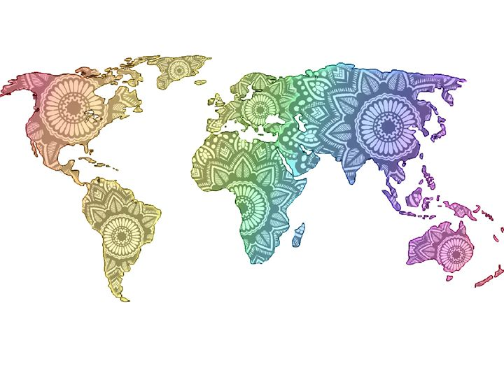 Mandala world map - Art By Rhi Rhi
