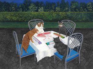 Meowjongg - Cats playing Mahjongg - Art by Karen Zuk Rosenblatt