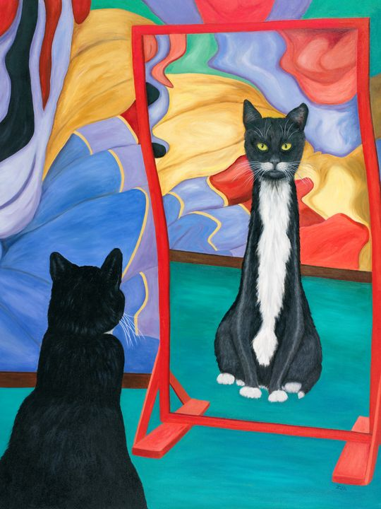 Fun House Skinny Cat - Art by Karen Zuk Rosenblatt