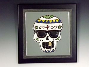 Sugar Skull Ceramic Art Tile #1