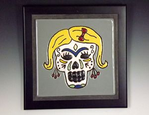 Sugar Skull Ceramic Art Tile #2
