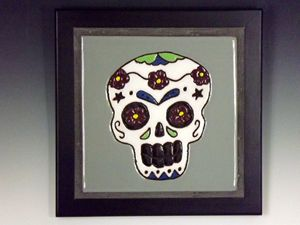Sugar Skull Ceramic Art Tile #4