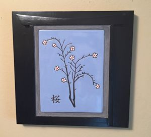 Cherry Blossom Ceramic Art Tile