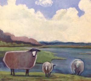 Sheep at Water's Edge