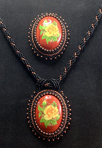 """Yellow Roses"" - Handcrafted Jewelry by Patricia Bowe Designs"