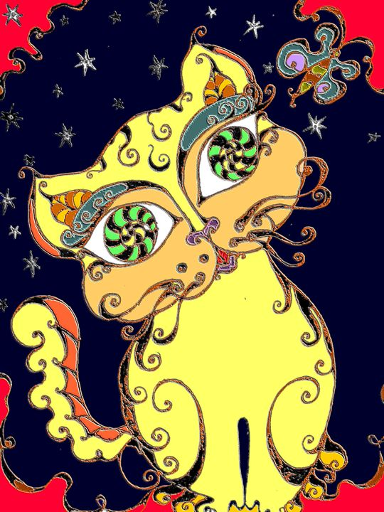 Loopy Cat (Yellow on Black) - Art by Rae Chichilnitsky